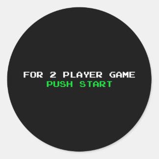 Para el comienzo del empuje del juego de 2 pegatina redonda