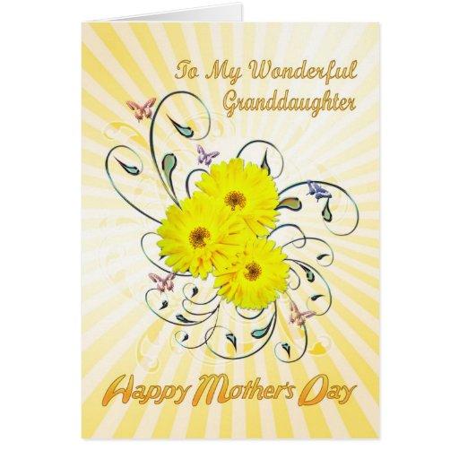Para el día de madre de la nieta con las flores tarjeta de felicitación