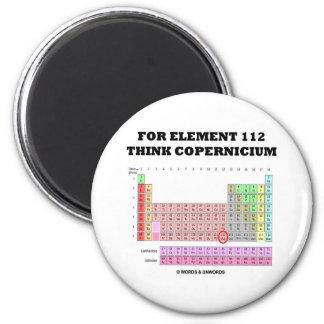 Para el elemento 112 piense Copernicium Imán