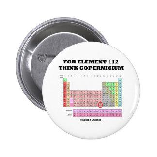 Para el elemento 112 piense Copernicium Pin