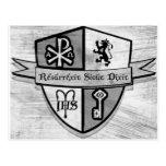 Para el logotipo blanco y negro del rey y del país tarjeta postal