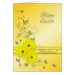 Para el marido, tarjeta de pascua con las flores a
