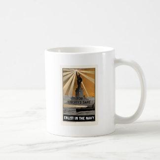 Para el motivo de la libertad aliste en la marina taza de café