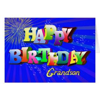 Para el nieto, tarjeta de cumpleaños brillante de
