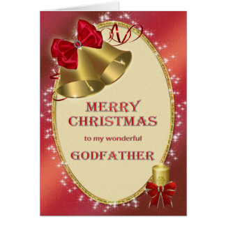 Para el padrino, tarjeta de Navidad tradicional
