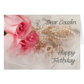 Para el primo, los rosas y las perlas del feliz tarjeta de felicitación