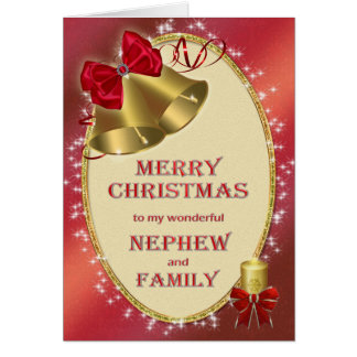 Para el sobrino y la familia, tarjeta de Navidad