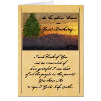 para el socio de la vida - puesta del sol tarjeta de felicitación