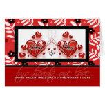 Para el socio lesbiano en corazones del rojo del tarjeta de felicitación