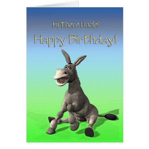 para el tío, tarjeta de cumpleaños feliz del asno