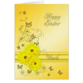 Para el tío, tarjeta de pascua con las flores
