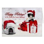 para el veterinario en el navidad gato y perro felicitaciones