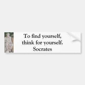 Para encontrarse piense para sí mismo - Sócrates Etiqueta De Parachoque