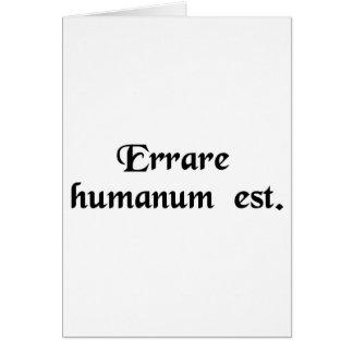 Para errar es humano tarjeta de felicitación