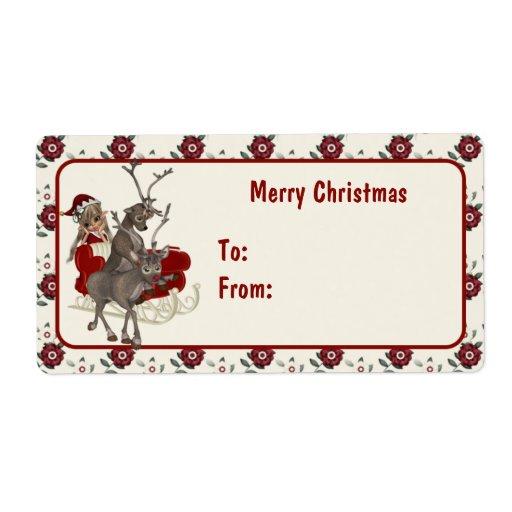 Para etiquetas del navidad de Santa que esperan Etiqueta De Envío