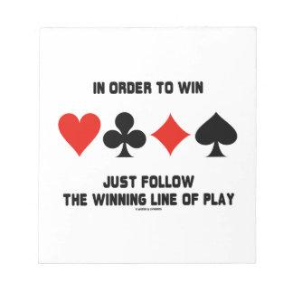 Para ganar apenas siga la línea que gana juego bloc de papel