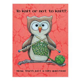 Para hacer punto o no hacer punto el búho tarjeta postal