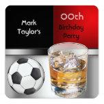 Para hombre añada el fútbol rojo de la bebida de anuncio
