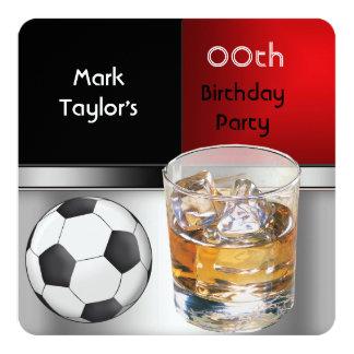 """Para hombre añada el fútbol rojo de la bebida de invitación 5.25"""" x 5.25"""""""