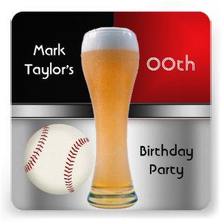 Para hombre añada la bola roja del béisbol de la c invitación personalizada