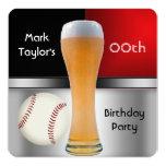 Para hombre añada la bola roja del béisbol de la invitación personalizada