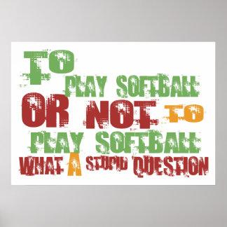 Para jugar a softball posters