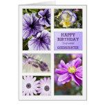 Para la ahijada, cumpleaños floral de las tarjeta de felicitación