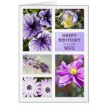 Para la esposa, tarjeta de cumpleaños floral de