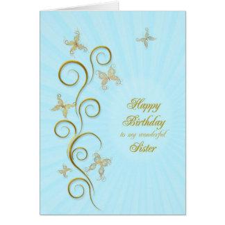 Para la hermana, cumpleaños con las mariposas de tarjeta de felicitación