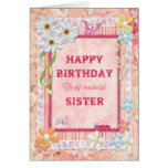 Para la hermana, tarjeta de cumpleaños del arte