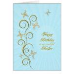 Para la madre, cumpleaños con las mariposas de oro tarjeta