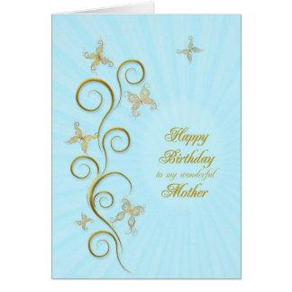 Para la madre, cumpleaños con las mariposas de oro tarjeta de felicitación