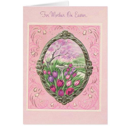 Para la madre en el rosa de Pascua Tarjetón