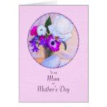 Para la momia, el día de madre con las flores tarjeta de felicitación