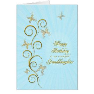 Para la nieta, mariposas de oro del cumpleaños tarjeta de felicitación
