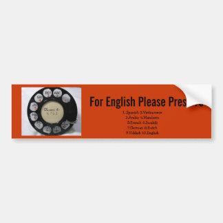 Para la prensa 10 del inglés etiqueta de parachoque