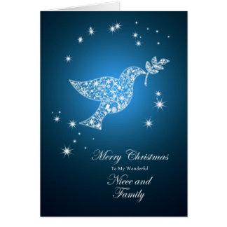 Para la sobrina y la familia, paloma del navidad tarjeta de felicitación