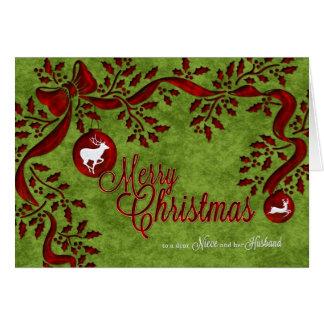 para la sobrina y su reno del navidad del marido tarjeta de felicitación