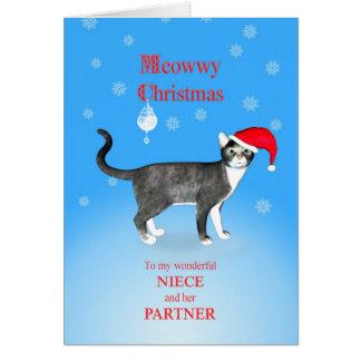 Para la sobrina y su socio, gato del navidad de tarjeta de felicitación