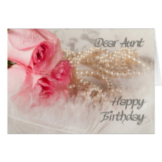 Para la tía, los rosas y las perlas del feliz tarjeta de felicitación