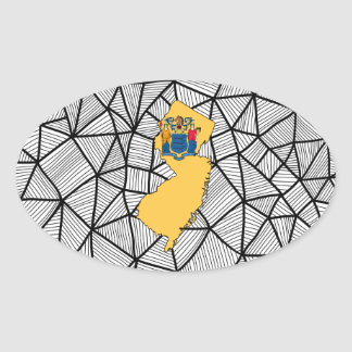 Para los niños: Bandera creativa de New Jersey con Pegatina Ovalada