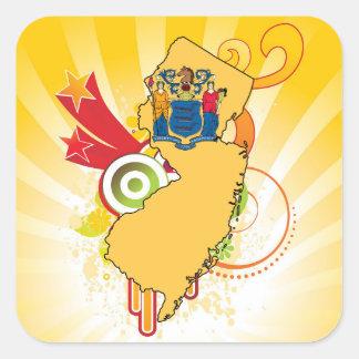 Para los regalos: Mapa de la bandera de New Jersey Pegatina Cuadrada