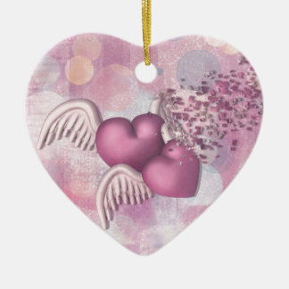 Para mejor o para peor adorno navideño de cerámica en forma de corazón