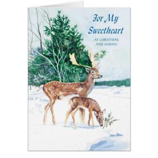 Para mi amor en el navidad y siempre tarjeta de felicitación