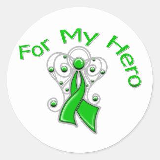 Para mi cáncer del riñón de la cinta del ángel del pegatina redonda