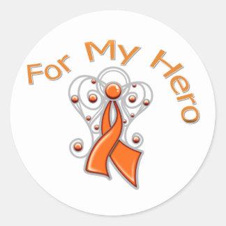 Para mi cáncer del riñón de la cinta v2 del ángel pegatina redonda