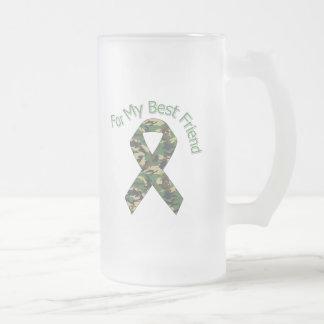 Para mi cinta de los militares del mejor amigo taza cristal mate
