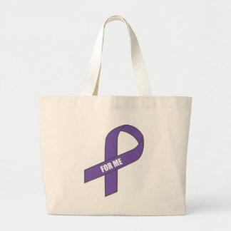 Para mí (cinta púrpura) bolsa tela grande