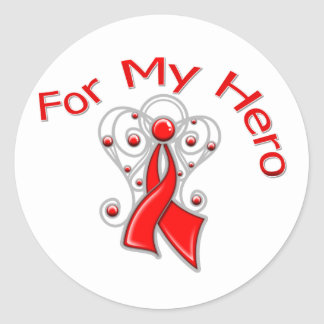 Para mi enfermedad cardíaca de la cinta del ángel pegatina redonda