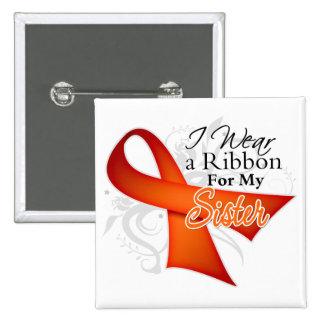 Para mi hermana - cinta de la leucemia pin cuadrado